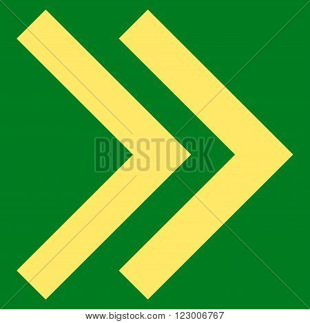 Shift Right vector icon symbol. Image style is flat shift right pictogram symbol drawn with yellow color on a green background.