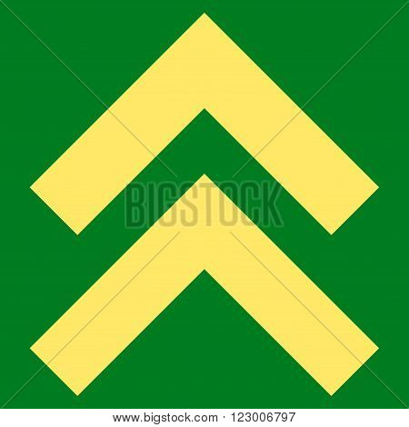 Shift Up vector pictogram. Image style is flat shift up pictogram symbol drawn with yellow color on a green background.