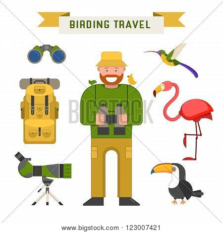 Birding travel elements isolated on white. Birdwatching tourism vector icons. Birdwatcher man telescope binoculars tourist backpack and exotic birds.