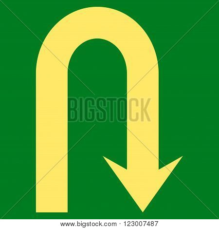 Turn Back vector symbol. Image style is flat turn back iconic symbol drawn with yellow color on a green background.