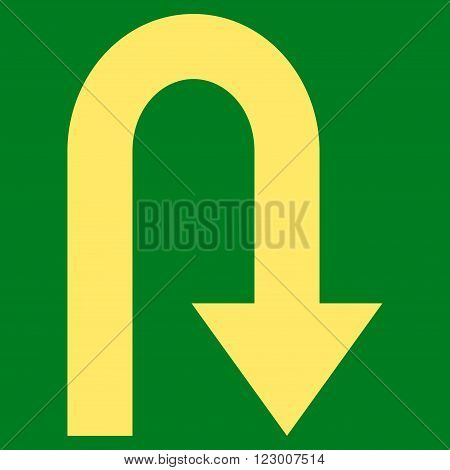 Turn Back vector icon symbol. Image style is flat turn back iconic symbol drawn with yellow color on a green background.