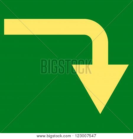 Turn Down vector icon symbol. Image style is flat turn down icon symbol drawn with yellow color on a green background.
