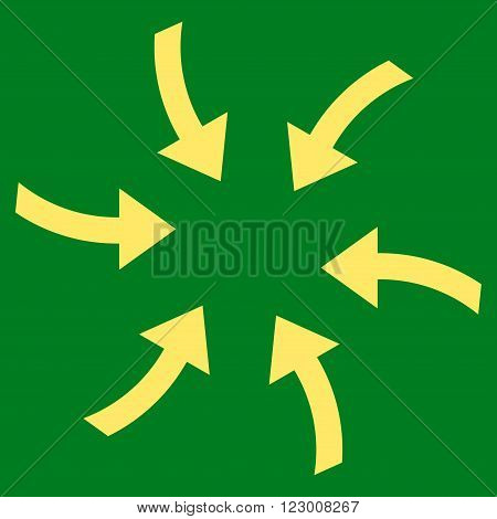 Twirl Arrows vector icon symbol. Image style is flat twirl arrows pictogram symbol drawn with yellow color on a green background.