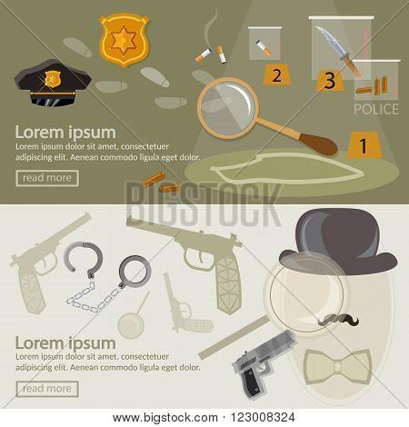 Crime investigation banner detective agency search for clues vector illustration