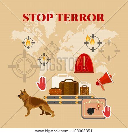 Stop terror terrorism infographics poster set vector