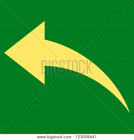 Undo vector pictogram. Image style is flat undo iconic symbol drawn with yellow color on a green background.