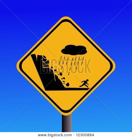 warning risk of landslide during heavy rain sign