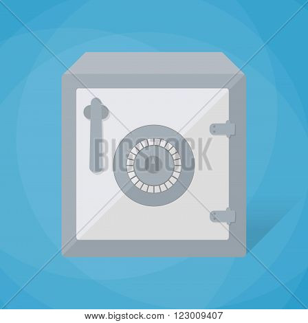 Small closed steel safe box. Safe box icon. security concept. vector illustration in flat design on blue background