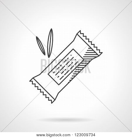 Organic food menu. Cereal candy in wrap and leaves. Healthy nutrition. Vector icon flat thin line style. Element for web design, business, mobile app.