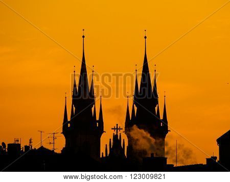 Silhouette of two towers of Church of Our Lady before Tyn in morning Prague, Czech Republic ** Note: Soft Focus at 100%, best at smaller sizes