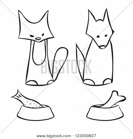 Abstract cat and dog. Pets and bowls of food. Kitten and the puppy and bowl with fish and bone