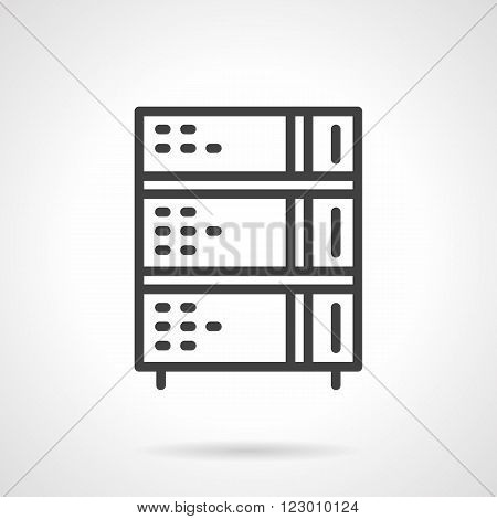 Commercial kitchen appliances. Bread oven. Stoves. Vector icon simple black line style. Single design element for website, business.