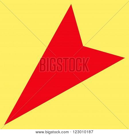 Arrowhead Left-Down vector icon symbol. Image style is flat arrowhead left-down icon symbol drawn with red color on a yellow background.
