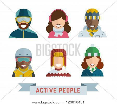 Outdoor activity guy and girl icons. Active people avatar set. Active man and woman in sportswear. Multinational world people in winter and spring clothes. People different races.