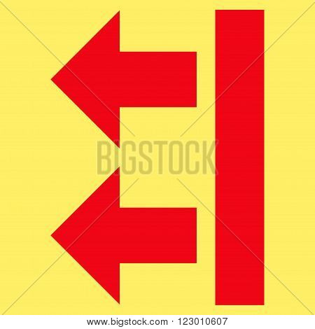 Bring Left vector symbol. Image style is flat bring left icon symbol drawn with red color on a yellow background.