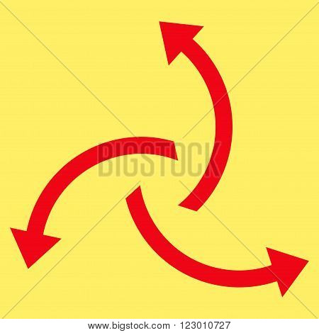 Centrifugal Arrows vector pictogram. Image style is flat centrifugal arrows iconic symbol drawn with red color on a yellow background.