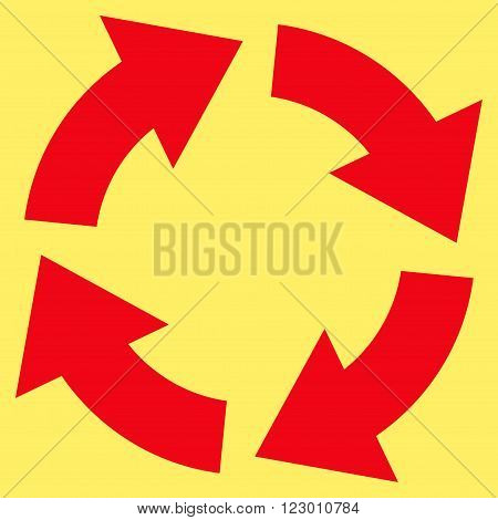 Circulation vector symbol. Image style is flat circulation pictogram symbol drawn with red color on a yellow background.
