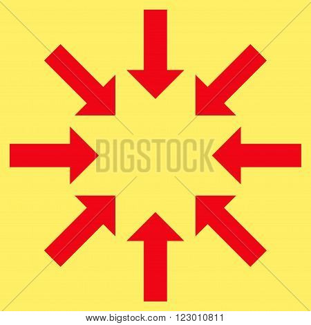 Collapse Arrows vector symbol. Image style is flat collapse arrows icon symbol drawn with red color on a yellow background.