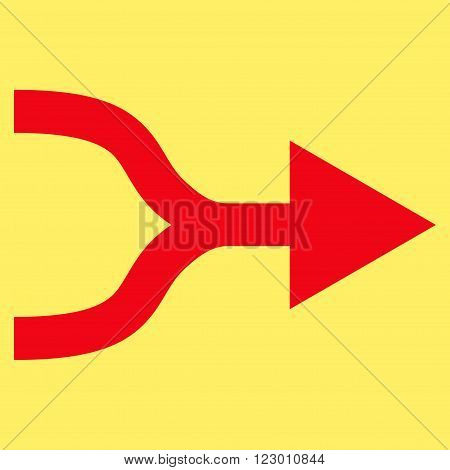 Combine Arrow Right vector icon. Image style is flat combine arrow right icon symbol drawn with red color on a yellow background.
