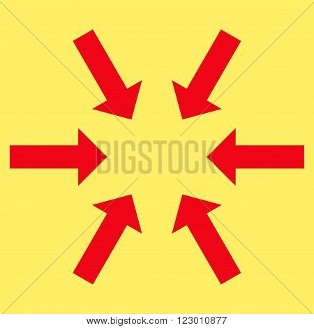 Compact Arrows vector symbol. Image style is flat compact arrows iconic symbol drawn with red color on a yellow background.