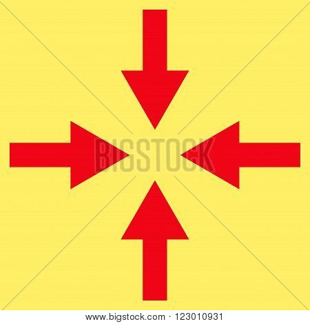 Compress Arrows vector icon. Image style is flat compress arrows pictogram symbol drawn with red color on a yellow background.