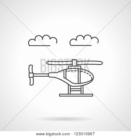 Aircraft industry. Helicopter in a sky with clouds. Air vehicles. Vector icon flat thin line style. Element for web design, business, mobile app.