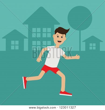 Cartoon running guy Night summer time. House tree silhouette. Cute run boy Jogging man Runner outside Fitness cardio workout Running male character Flat design Vector illustration