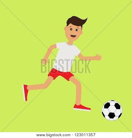 Funny cartoon running guy with soccer ball. Football player. Cute run boy Jogging man Runner Fitness workout running male character Green background. Flat design Vector illustration