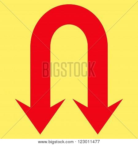 Double Back Arrow vector symbol. Image style is flat double back arrow pictogram symbol drawn with red color on a yellow background.
