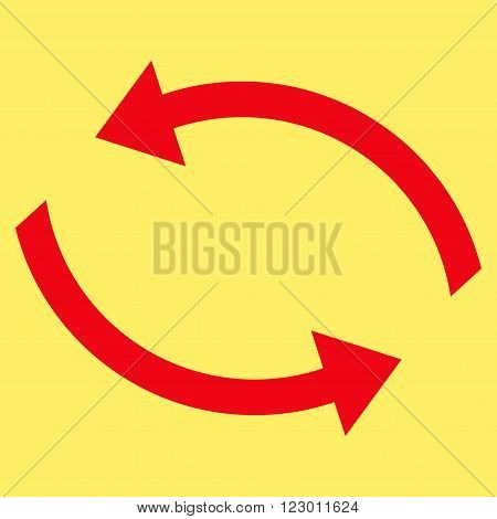 Exchange Arrows vector pictogram. Image style is flat exchange arrows iconic symbol drawn with red color on a yellow background.