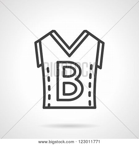 Sleeveless shirt with letter B. Basketball uniform. Sportswear. Vector icon simple black line style. Single design element for website, business.
