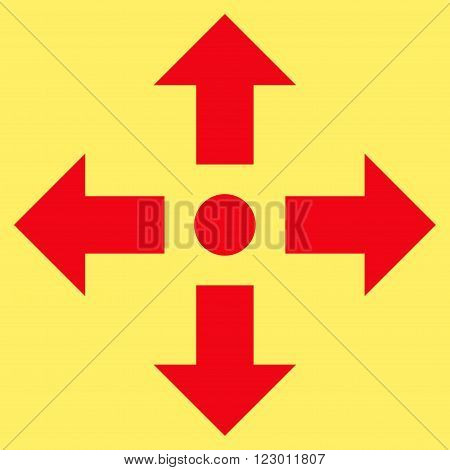Expand Arrows vector symbol. Image style is flat expand arrows iconic symbol drawn with red color on a yellow background.