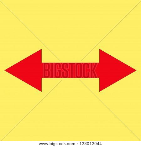 Horizontal Flip vector icon symbol. Image style is flat horizontal flip icon symbol drawn with red color on a yellow background.