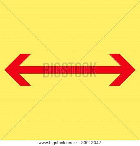 Horizontal Flip vector icon. Image style is flat horizontal flip icon symbol drawn with red color on a yellow background.