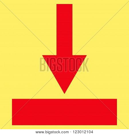 Move Bottom vector icon. Image style is flat move bottom icon symbol drawn with red color on a yellow background.