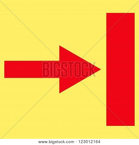 Move Right vector pictogram. Image style is flat move right iconic symbol drawn with red color on a yellow background.