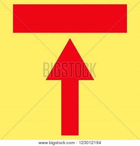 Move Top vector icon symbol. Image style is flat move top iconic symbol drawn with red color on a yellow background.