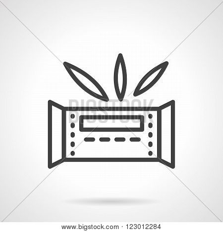 Organic sweets. Desserts menu. Waffle bar in wrap and leaves. Vector icon simple black line style. Single design element for website, business.