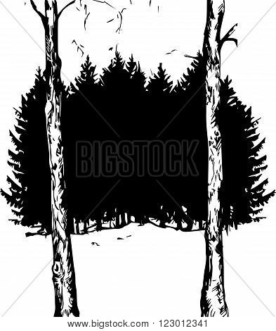 vector fir forest and deciduous tree trunks, black silhouette of fir trees, hand drawn vector illustration