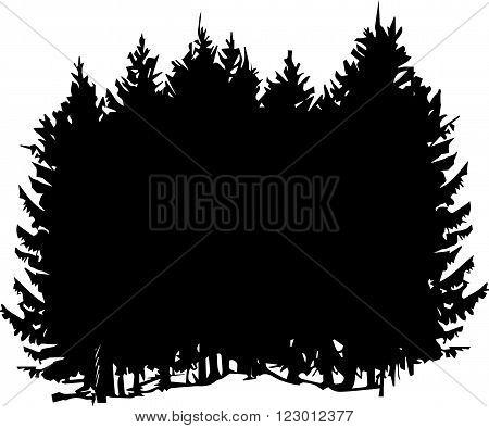 vector fir forest, black silhouette of fir trees, hand drawn vector illustration