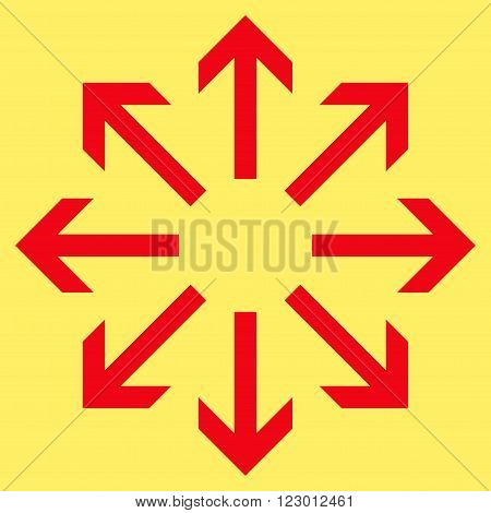 Radial Arrows vector symbol. Image style is flat radial arrows pictogram symbol drawn with red color on a yellow background.