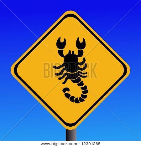 Warnung Skorpion Quadrat anmelden blau Abbildung