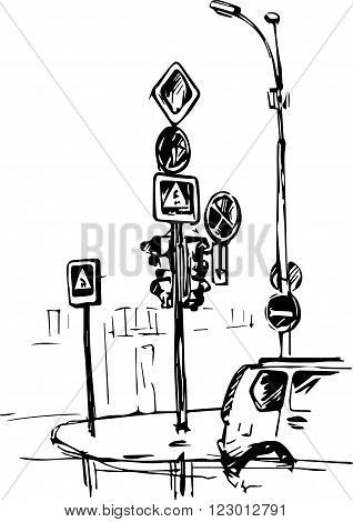urban sketch, crossroad with street lamps and road signs, hand drawn vector illustration