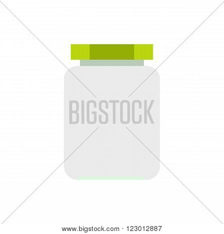 Empty glass jar with green lid icon in flat style isolated on white background