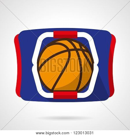 Basketball ball on sport bag. Sports store. Accessories and outfit for basketball. Vector icon flat color style. Web design element for site, mobile and business.