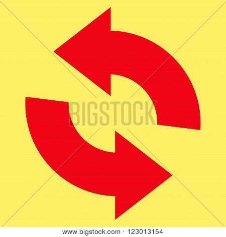 Refresh vector icon. Image style is flat refresh pictogram symbol drawn with red color on a yellow background.