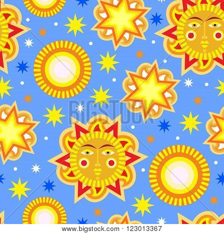 Summer and stars seamless pattern background. Vector illustration