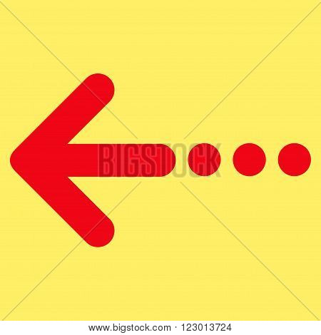 Send Left vector icon symbol. Image style is flat send left iconic symbol drawn with red color on a yellow background.