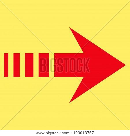 Send Right vector icon symbol. Image style is flat send right iconic symbol drawn with red color on a yellow background.