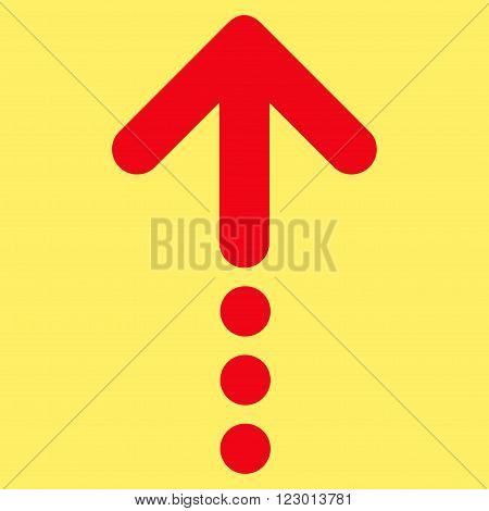 Send Up vector icon. Image style is flat send up icon symbol drawn with red color on a yellow background.